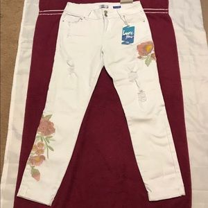 YMY distressed Skinny mid rise ankle white Jeans